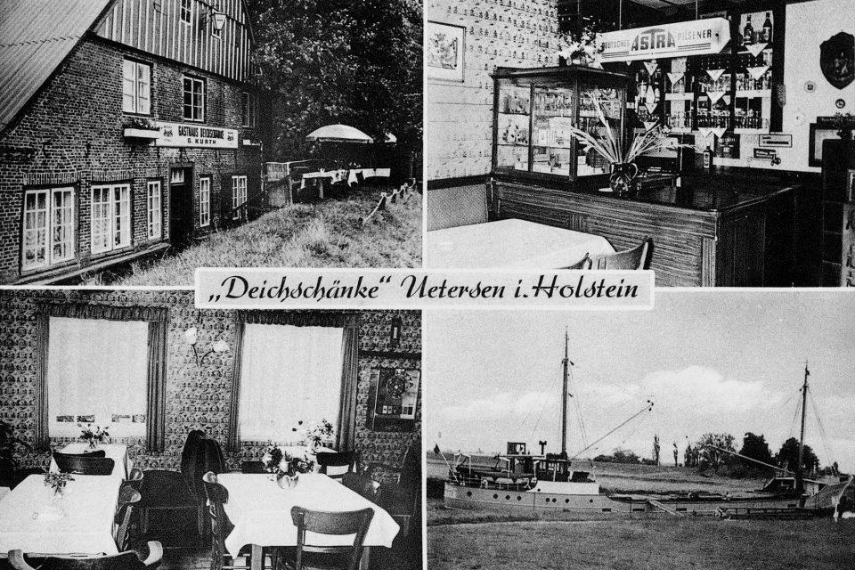 """Postkarte der """"Deichschänke"""" mit vier Motiven. Im Uhrzeigersinn, beginnend oben links: Die Gaststätte vom Pinnaudeich aus gesehen, der Tresenbereich, ein Kümo bei """"Tante Grete"""" vor Anker, der Gastraum. Die Innenansichten zeugen von der großzügigen Verwendung von Delfter Fliesen. (Archiv Stadt- und Heimatgeschichtliches Museum Uetersen)"""